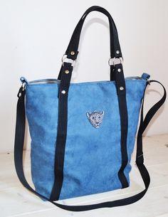 Torba z głową tygrysa  na ramię shopper niebieska w UniQueBags na DaWanda.com