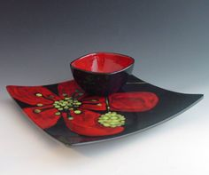 I love this! A large tray and dip bowl set.