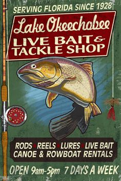 Lake Okeechobee, Florida - Tackle Shop Trout Vintage Sign - Lantern Press Poster