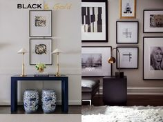Go bold with black and gold - art deco black gold glamorous interiors and home accessories