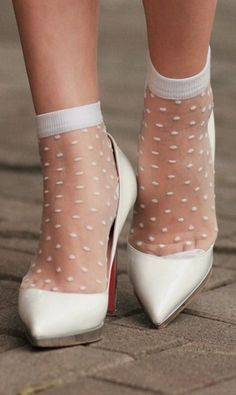 Pointy White Loubs On White Sheer Socks | Frou Frou Fashionista Luxury Lingerie Tumblr #pointy