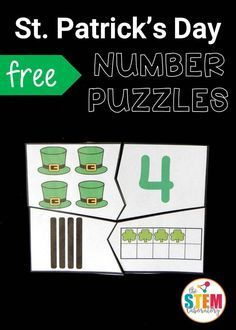 Free St. Patrick's Day Number Puzzles! Such a fun way to practice tallies, ten frames and number recognition for the numbers 1 to 10. This would be a fun preschool or early kindergarten math activity!