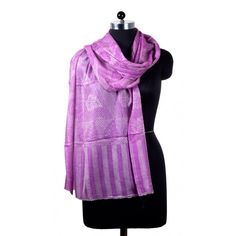 Abstract Design Wool Shawl in Light Purple Color - This lightweight accessory is infused with Wool for an airy drape and Intricately woven in Light Purple color and Abstract Design with subtle embellishment. http://carpetandtextile.com/textiles/shawls