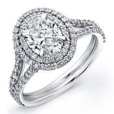 Norman Silverman Platinum Double Halo Engagement Ring at TWO by LONDON!