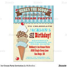 "Vintage retro look Ice Cream Party Invitation 5"" X 7"" Invitation Card"