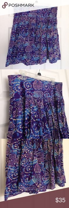 "Purple & Blue Skirt Gorgeous colors. Zipper on the side as closure. Have purple lining. Little ruffle around middle of waist. 100% cotton. Size 10. No stains or holes. Measurement laying flat: waist: 18"" length: 21.5"" GAP Skirts Midi"