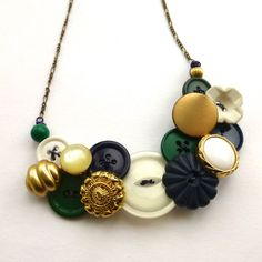 Statement Button Bib Necklace Gold Brass, White, Navy Blue, and Green by buttonsoupjewelry on etsy