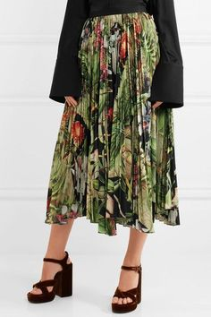 Adam Lippes - Pleated Printed Cotton-voile Midi Skirt - Green