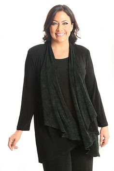 Vikki Vi Classic Northern Lights Cascading Scarf Hi-Lo Jacket A great plus size piece for your holiday party.
