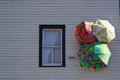 3 Umbrellas & Window from cybertoad on Flickr  Installation by Joanne Fleischauer.