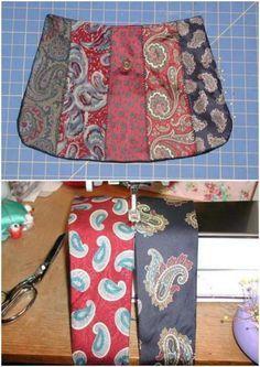 Diy Necktie Projects, Tie Crafts, Fabric Crafts, Sewing Crafts, Sewing Projects, Old Neck Ties, Old Ties, Stylish School Bags, Artisanats Denim
