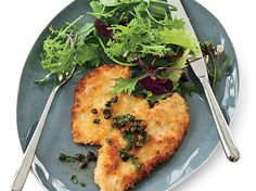 """Panko-Coated Chicken Schnitzel   Thomas Keller of the French Laundry in Yountville, California uses panko bread crumbs to give chicken a crunchy crust. """"Pounding chicken breasts to a ..."""