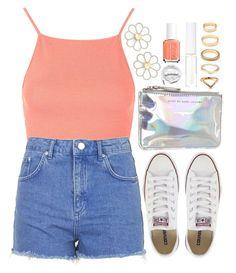 """""""Coral Oceans"""" by tinasxx ❤ liked on Polyvore featuring Cheap Monday, Topshop, Converse, Marc by Marc Jacobs, Essie, Lord & Berry, Forever 21 and Urbanears"""