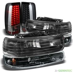 For 99-02 Chevy Silverado Headlights+LED Tail Lights Lamp Pair Head Light Set