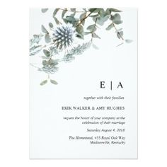 Rustic watercolor blue floral wedding invitation - individual customized designs custom gift ideas diy