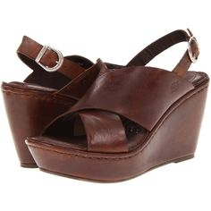 Born Emmy (Whiskey Brown Full Grain Leather) Women's Wedge Shoes ($46) ❤