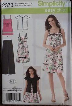 Simplicity Pattern 2373 sizes 6-14 Misses' pants, dress or top and jacket FS
