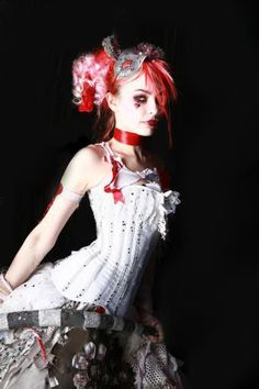 Emilie Autumn circus re hair pink ringlets satin choker burlesque corset