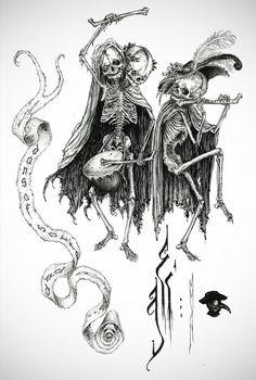 macabre art | Danse Macabre Art Print by Elias Aquino | Society6