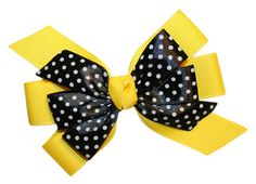 Webb Direct 2U Girls Black Dotted GrosGrain Hair Bow French Clip Yellow 8008FC * This is an Amazon Affiliate link. Want additional info? Click on the image.