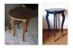 Occasional table with cracked leg received some TLC and was painted blue, with gold lower table legs. I'm keeping this one! Paint Effects, Table Legs, Own Home, Bar Stools, Projects, Gold, Blue, Painting, Furniture