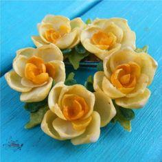 Hand Made Shell Rose Wreath Pin