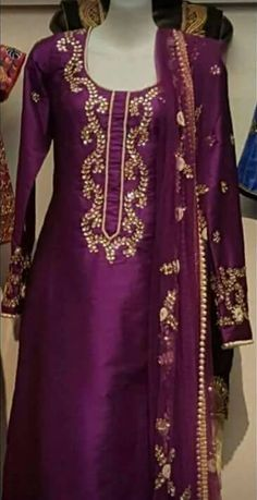 Marvelous Designer Silk Suit With Gotta Patti Work in Wine Color