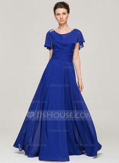 A-Line/Princess Scoop Neck Floor-Length Chiffon Mother of the Bride Dress With Ruffle Beading Sequins (008062573)