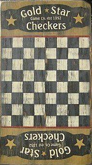 Primitive Gold Star Checker Game Board