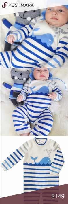 Infant Boy's Striped Coverall 100% Cashmere Blue Luxuriously soft cashmere stripe coverall, featuring one of a kind happy whale intarsia graphic, perfect for your baby. This 100% Pure cashmere coverall makes a wonderful gift for newborns and babies. Incredibly soft, this fun, vibrant coverall, will keep baby warm and stylish. One of baby's first luxuries, simply exquisite and made with love.  Product details:  Crewneck with tipping Button gusset for easy diaper changes. Natural Shell buttons…