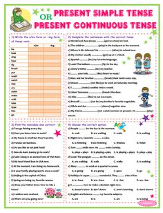 The next exercises worksheet of Present Simple Tenses and Present Continuous Tense. This worksheet has 4 parts, the same as my first post ,. Simple Present Tense Worksheets, Present Continuous Worksheet, Present Continuous Tense, Grammar For Kids, Teaching English Grammar, Grammar Lessons, English Lessons, Learn English, English Worksheets Pdf