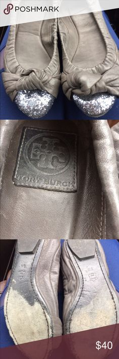 Tory Burch Katie Silver Glitter Leather Flats 8 Gorgeous detail on the toes. These have been loved for sure but still have life left. The price reflects the wear on the heel. Please see photos :) Sam Edelman Shoes Flats & Loafers