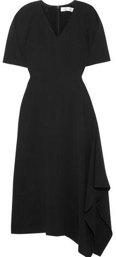 Victoria Beckham - Asymmetric Crepe Midi Dress - Black