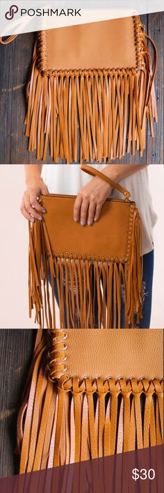 Olympic Fringe Handbag Every girl loves a good purse and these faux leather, fringe purses are the perfect accessory to complete a Roam Free look. These neutral bags are on every girl's wish list this season. Make one all yours to style with and hold your personal essentials when you are on-the-go this summer.   COLOR: BROWN Bags Clutches & Wristlets