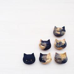 まんじゅう猫🐈  黒猫とさび猫。  - - - - - - -  #cat #neko #blackcat #tortoiseshell #needlefelt #needlefelting #felt #felted #feltig #woolfelt #woolfeltcat #handmade #羊毛フェルト #ニードルフェルト  20180303