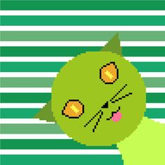 This sweet little green (?) cat will make any child smile! Cross stitch design by CrossStitchtheLine.