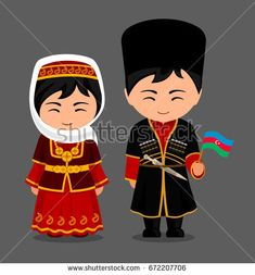 Imagens, fotos stock e vetores similares de Azerbaijanis in national dress with a flag. Man and woman in traditional costume. Travel to Azerbaijan. Azerbaijan Flag, World Thinking Day, Indian Bridal Fashion, Travel Party, Flat Illustration, Swim Cover, People Around The World, Traditional Dresses, Pin Collection