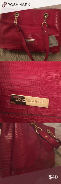 """Liz Claiborne Tote This is a softer tote. 14 x 9-1/2 x 4. 9"""" drop. Nice dark red.  Unsure of retail. Liz Claiborne Bags Totes"""