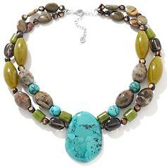 "Studio Barse Double Strand Multigemstone Sterling Silver 17-1/4"" Necklace"
