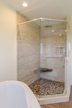 Shower Ideas   Large Custom Tile Shower With Large Tile Walls With Small  Glass Tiel Accent