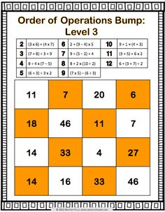 Order of Operations Bump Games contains 12 different levels of bump games to help students practice solving expressions using order of operations. These order o