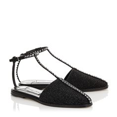 Black Pixelated Leather, Suede and Hotfix Crystal Flats | Gizma | Spring Summer 15 | JIMMY CHOO Shoes