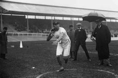 American Ralph Rose prepares for the shot put event, in which he won the gold medal. London 1908