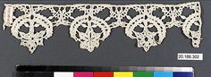 Edging Date: 16th century Culture: Italian Medium: Bobbin lace Dimensions: L. 9 x W. 2 1/4 inches (22.9 x 5.7 cm) Classification: Textiles-Laces Credit Line: Rogers Fund, 1920 Accession Number: 20.186.302