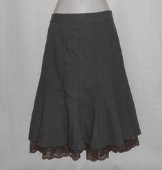 ANN TAYLOR LOFT Wool Skirt Calf Length Women Size 0 Full A-Line Flare Taupe #AnnTaylorLOFT #ALine