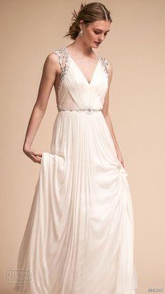 3edf7a97f80 bhldn spring 2018 bridal sleeveless v neck ruched bodice elegant grecian a  line wedding dress rasor