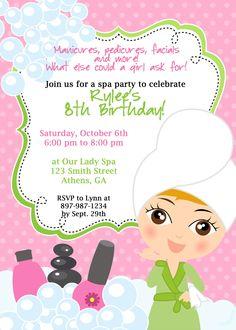 DIY Sassy Spa Party invitation by cohenlane on Etsy