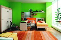 Shelves over corner bed