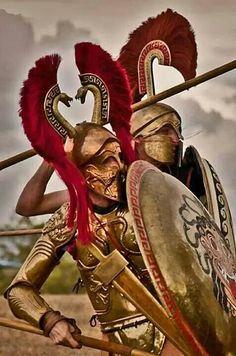 Double crested Greek helmet - Greek Hoplites