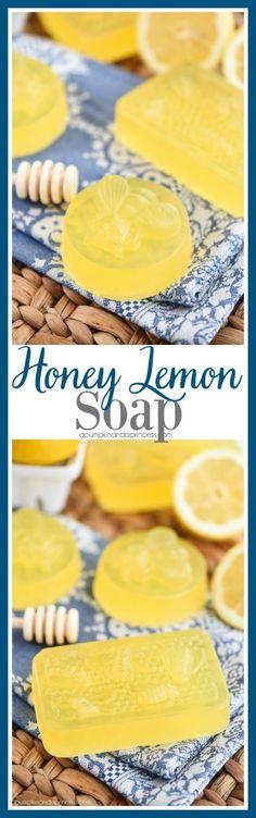 Honey Lemon Soap - easy DIY honey lemon soap recipe made with lemon essential oil. This soap smells amazing and makes a great handmade gift idea!